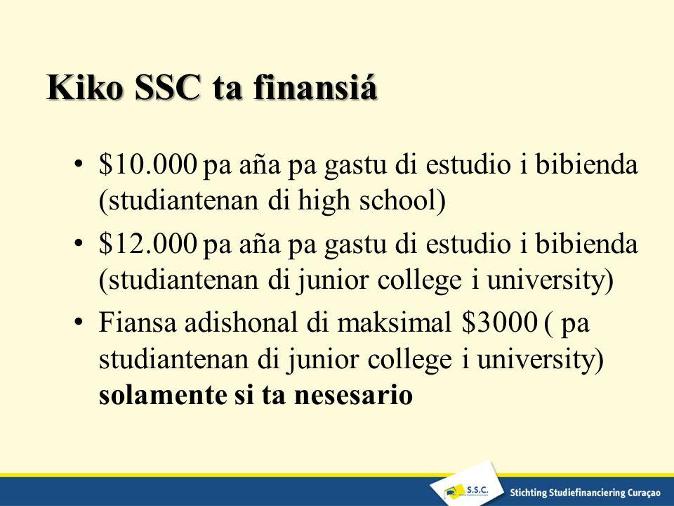 Kiko SSC ta finansiá $10.000 pa aña pa gastu di estudio i bibienda (studiantenan di high school) $12.000 pa aña pa gastu di estudio i bibienda (studia
