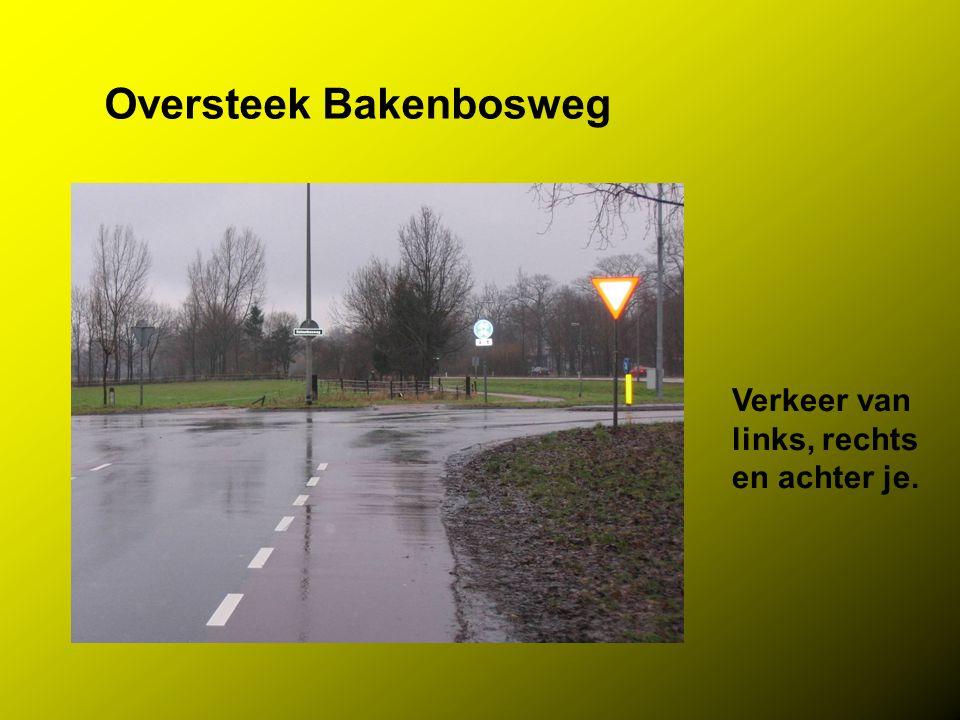 Oversteek Bakenbosweg Verkeer van links, rechts en achter je.