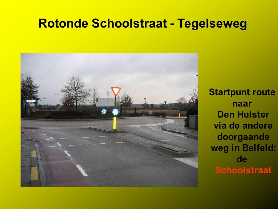 Rotonde Schoolstraat - Tegelseweg Startpunt route naar Den Hulster via de andere doorgaande weg in Belfeld: de Schoolstraat