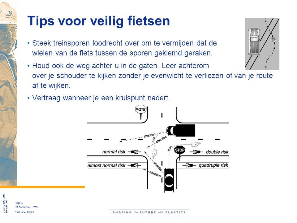 Copyright © 2005 Borealis A/S Page 4 29 September, 2006 HSE & Q België Tips voor veilig fietsen Steek treinsporen loodrecht over om te vermijden dat d