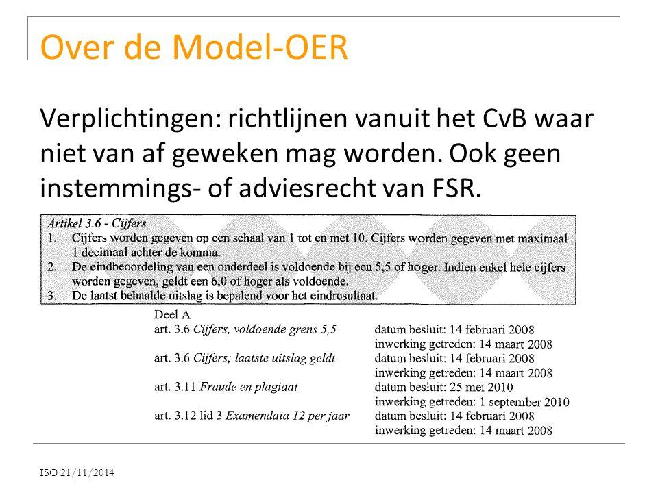 Over de Model-OER Verplichtingen: richtlijnen vanuit het CvB waar niet van af geweken mag worden. Ook geen instemmings- of adviesrecht van FSR. ISO 21