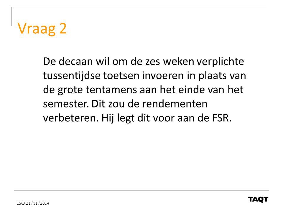 Vraag 2 De decaan wil om de zes weken verplichte tussentijdse toetsen invoeren in plaats van de grote tentamens aan het einde van het semester. Dit zo