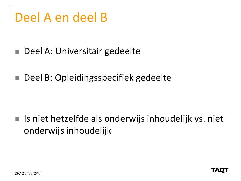 Deel A en deel B Deel A: Universitair gedeelte Deel B: Opleidingsspecifiek gedeelte Is niet hetzelfde als onderwijs inhoudelijk vs. niet onderwijs inh