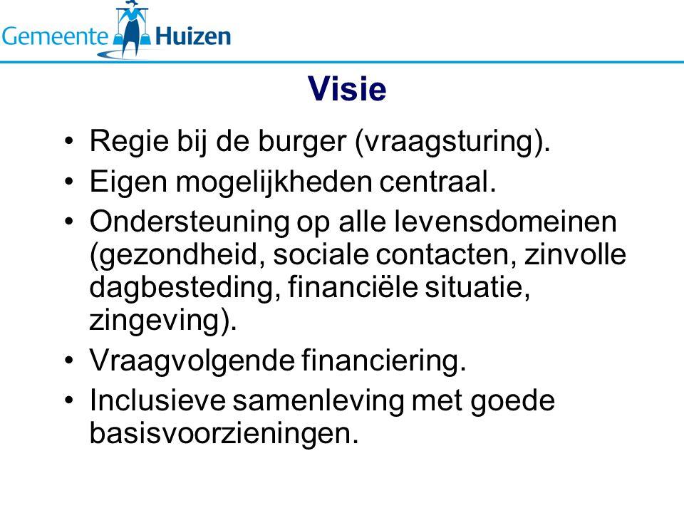 Visie Regie bij de burger (vraagsturing).Eigen mogelijkheden centraal.