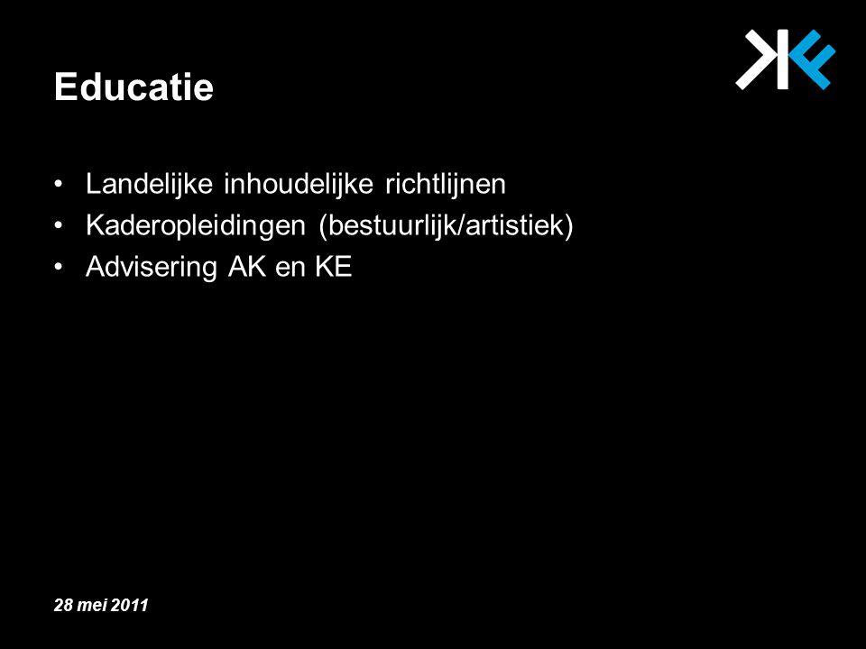 Educatie Landelijke inhoudelijke richtlijnen Kaderopleidingen (bestuurlijk/artistiek) Advisering AK en KE 28 mei 2011