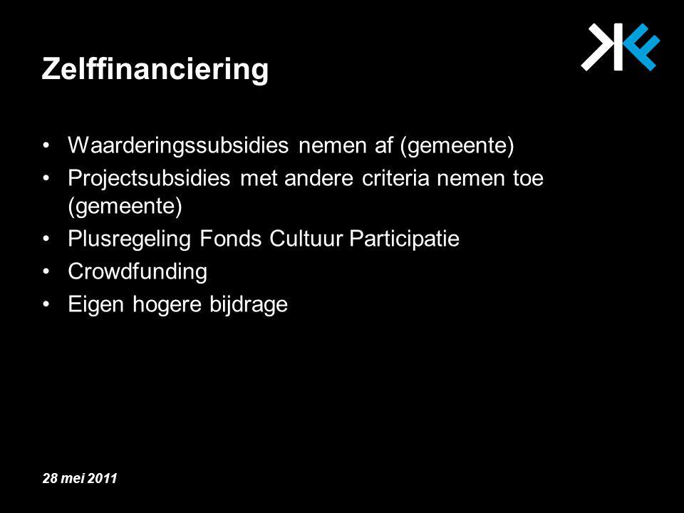 Zelffinanciering Waarderingssubsidies nemen af (gemeente) Projectsubsidies met andere criteria nemen toe (gemeente) Plusregeling Fonds Cultuur Participatie Crowdfunding Eigen hogere bijdrage 28 mei 2011