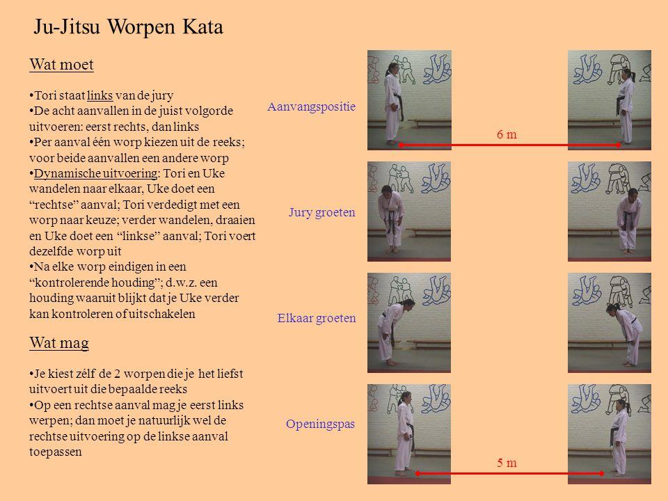 Ju-Jitsu Worpen Kata Aanvangspositie Jury groeten Elkaar groeten Openingspas 6 m 5 m Tori staat links van de jury De acht aanvallen in de juist volgorde uitvoeren: eerst rechts, dan links Per aanval één worp kiezen uit de reeks; voor beide aanvallen een andere worp Dynamische uitvoering: Tori en Uke wandelen naar elkaar, Uke doet een rechtse aanval; Tori verdedigt met een worp naar keuze; verder wandelen, draaien en Uke doet een linkse aanval; Tori voert dezelfde worp uit Na elke worp eindigen in een kontrolerende houding ; d.w.z.