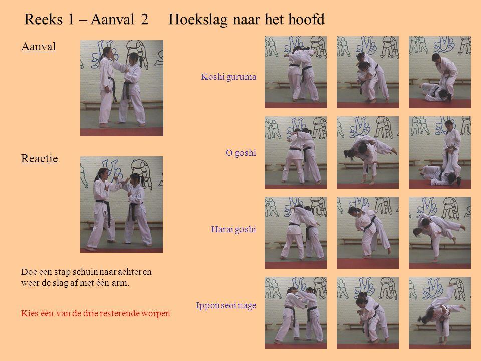 Reeks 1 – Aanval 2Hoekslag naar het hoofd Aanval Reactie Doe een stap schuin naar achter en weer de slag af met één arm.