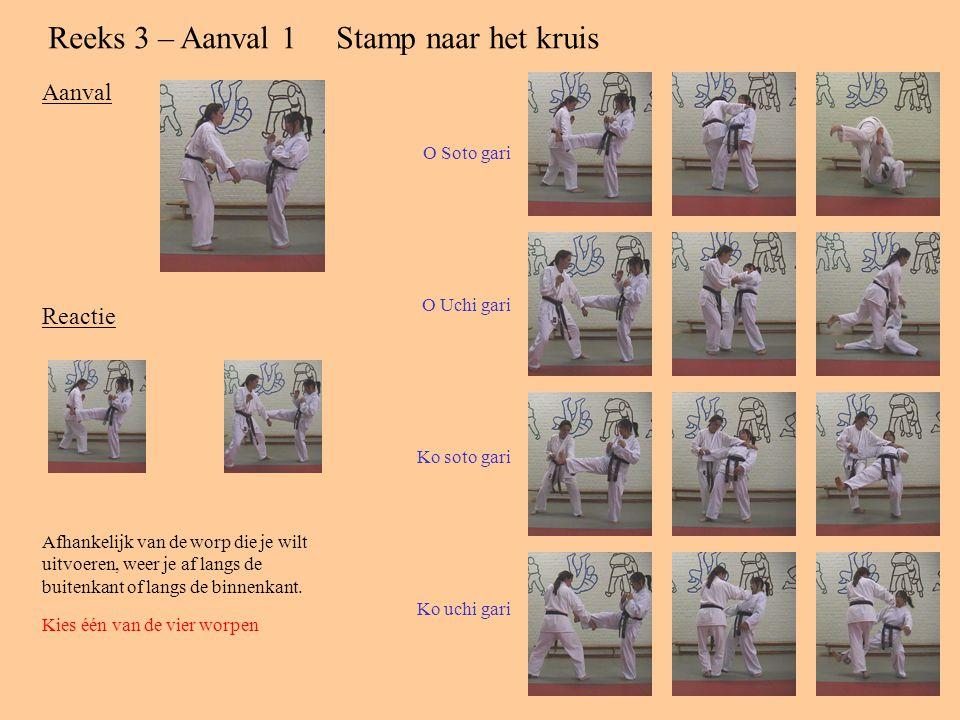 Reeks 2 – Aanval 2Duw tegen borst met één hand Aanval Reactie Doe een stap naar achter en weer de duwbeweging af. Kies één van de drie resterende worp
