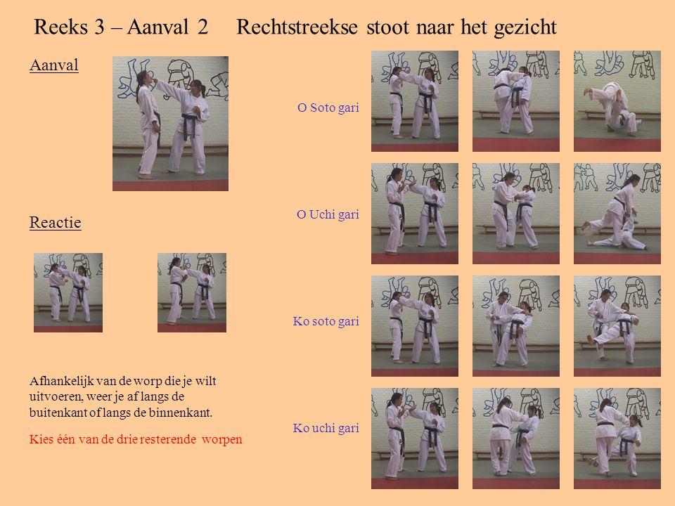 Reeks 3 – Aanval 2Rechtstreekse stoot naar het gezicht Aanval Reactie Afhankelijk van de worp die je wilt uitvoeren, weer je af langs de buitenkant of langs de binnenkant.