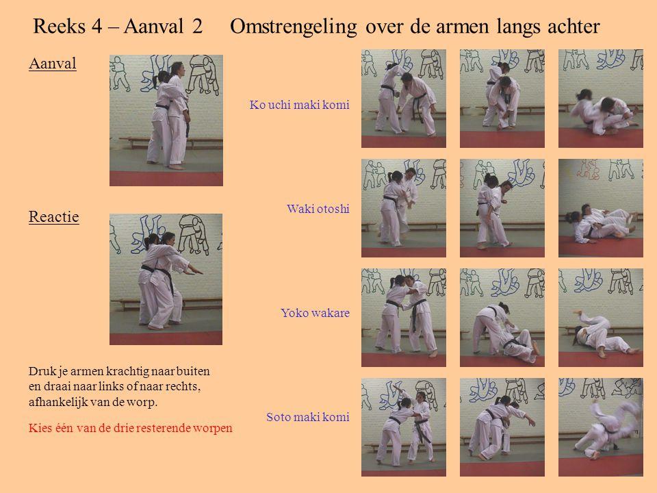 Reeks 4 – Aanval 2Omstrengeling over de armen langs achter Aanval Reactie Druk je armen krachtig naar buiten en draai naar links of naar rechts, afhankelijk van de worp.