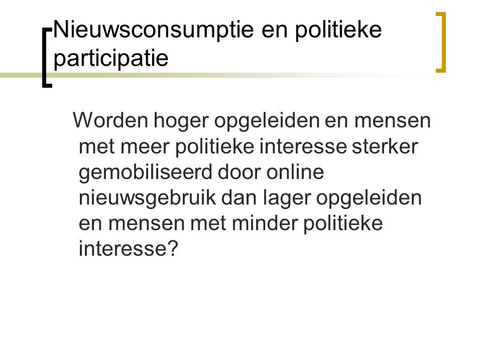 Nieuwsconsumptie en politieke participatie Worden hoger opgeleiden en mensen met meer politieke interesse sterker gemobiliseerd door online nieuwsgebr
