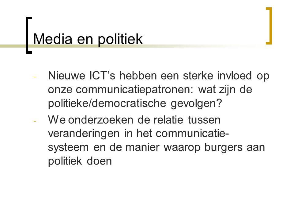 Media en politiek - Nieuwe ICT's hebben een sterke invloed op onze communicatiepatronen: wat zijn de politieke/democratische gevolgen? - We onderzoeke