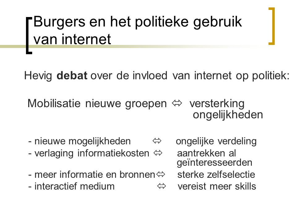 Burgers en het politieke gebruik van internet Hevig debat over de invloed van internet op politiek: Mobilisatie nieuwe groepen  versterking ongelijkh