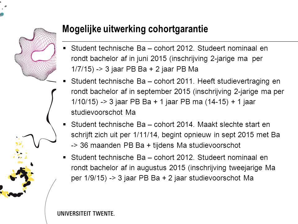 Mogelijke uitwerking cohortgarantie  Student technische Ba – cohort 2012. Studeert nominaal en rondt bachelor af in juni 2015 (inschrijving 2-jarige