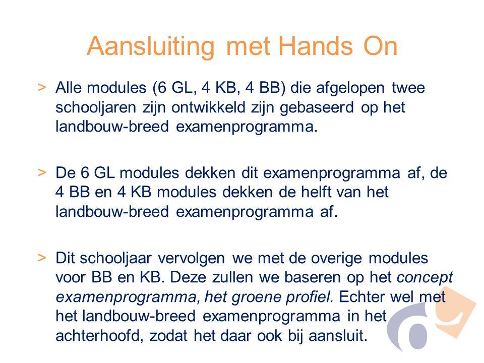 Aansluiting met Hands On >Alle modules (6 GL, 4 KB, 4 BB) die afgelopen twee schooljaren zijn ontwikkeld zijn gebaseerd op het landbouw-breed examenpr