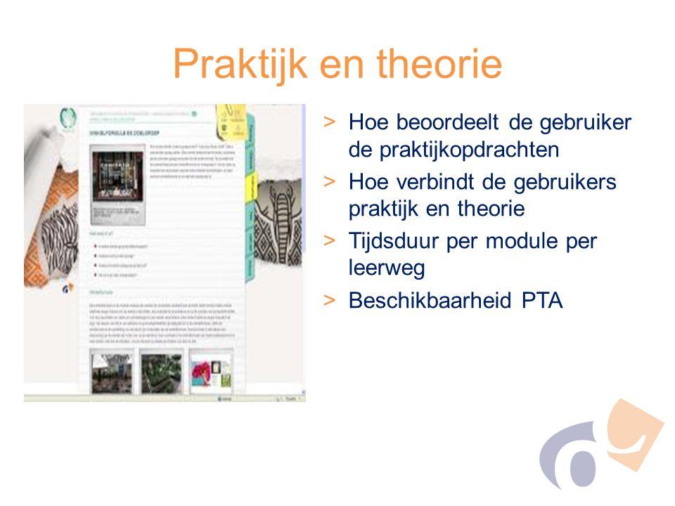 Praktijk en theorie >Hoe beoordeelt de gebruiker de praktijkopdrachten >Hoe verbindt de gebruikers praktijk en theorie >Tijdsduur per module per leerw