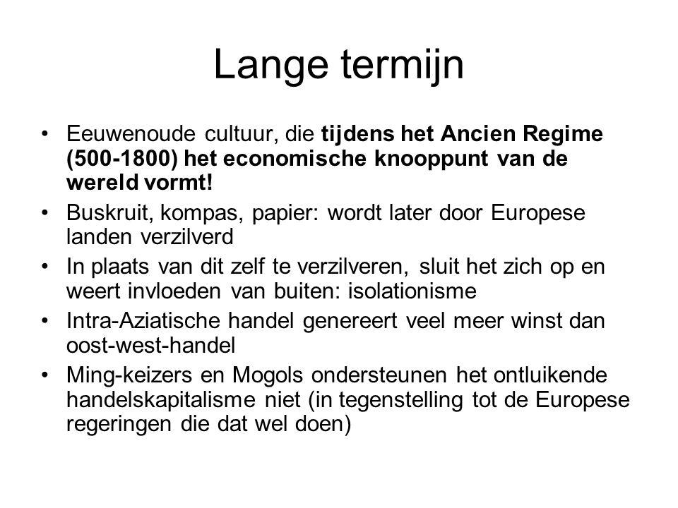 Lange termijn Eeuwenoude cultuur, die tijdens het Ancien Regime (500-1800) het economische knooppunt van de wereld vormt.