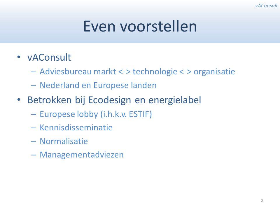 vAConsult Even voorstellen vAConsult – Adviesbureau markt technologie organisatie – Nederland en Europese landen Betrokken bij Ecodesign en energielabel – Europese lobby (i.h.k.v.