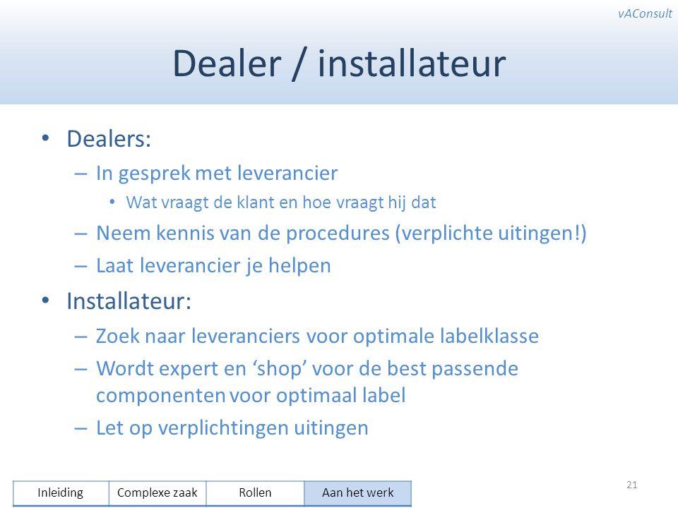 vAConsult Dealer / installateur Dealers: – In gesprek met leverancier Wat vraagt de klant en hoe vraagt hij dat – Neem kennis van de procedures (verpl