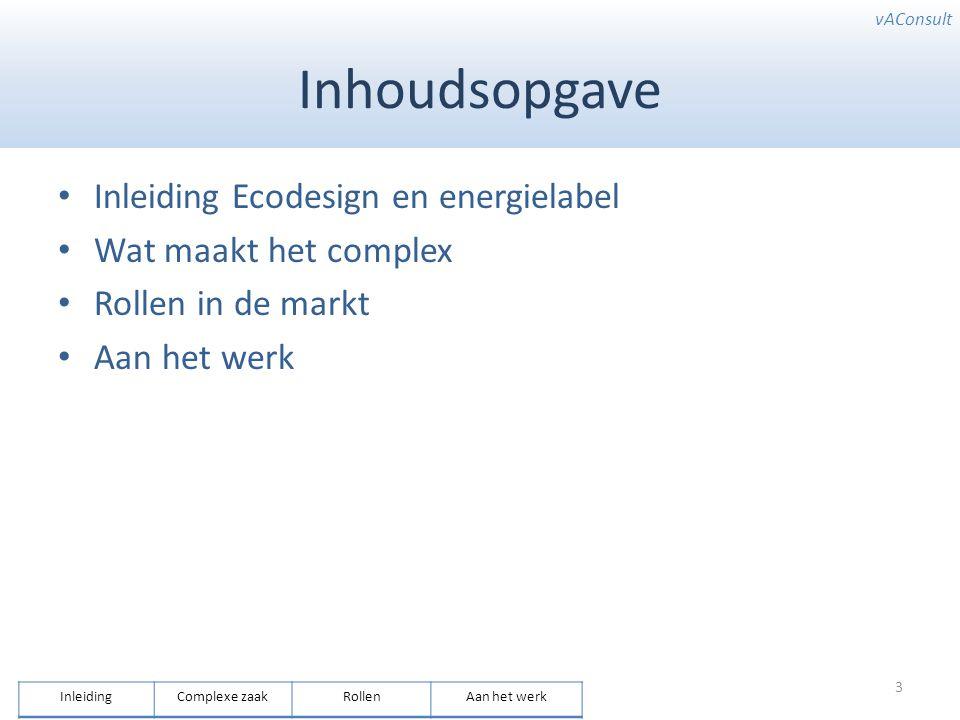vAConsult Inhoudsopgave Inleiding Ecodesign en energielabel Wat maakt het complex Rollen in de markt Aan het werk 3 InleidingComplexe zaakRollenAan he