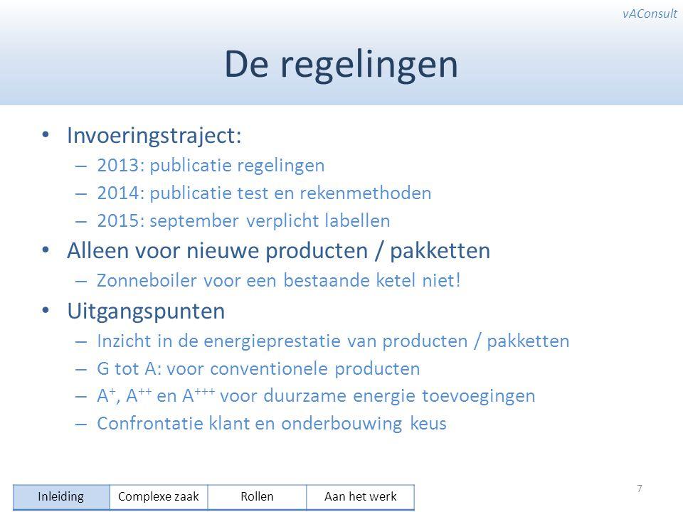 vAConsult De regelingen Invoeringstraject: – 2013: publicatie regelingen – 2014: publicatie test en rekenmethoden – 2015: september verplicht labellen Alleen voor nieuwe producten / pakketten – Zonneboiler voor een bestaande ketel niet.