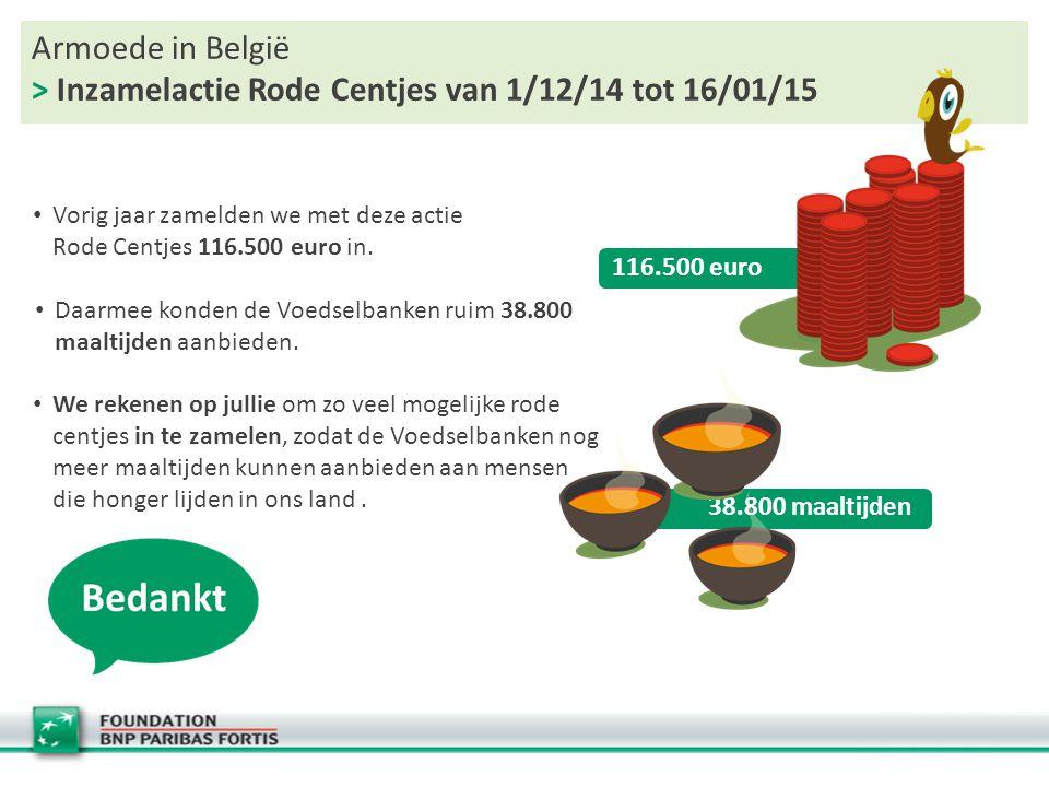 Armoede in België > Inzamelactie Rode Centjes van 1/12/14 tot 16/01/15 Vorig jaar zamelden we met deze actie Rode Centjes 116.500 euro in. 38.800 maal