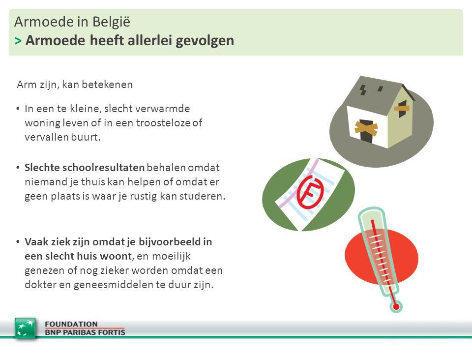 Armoede in België > Armoede heeft allerlei gevolgen In een te kleine, slecht verwarmde woning leven of in een troosteloze of vervallen buurt. Slechte