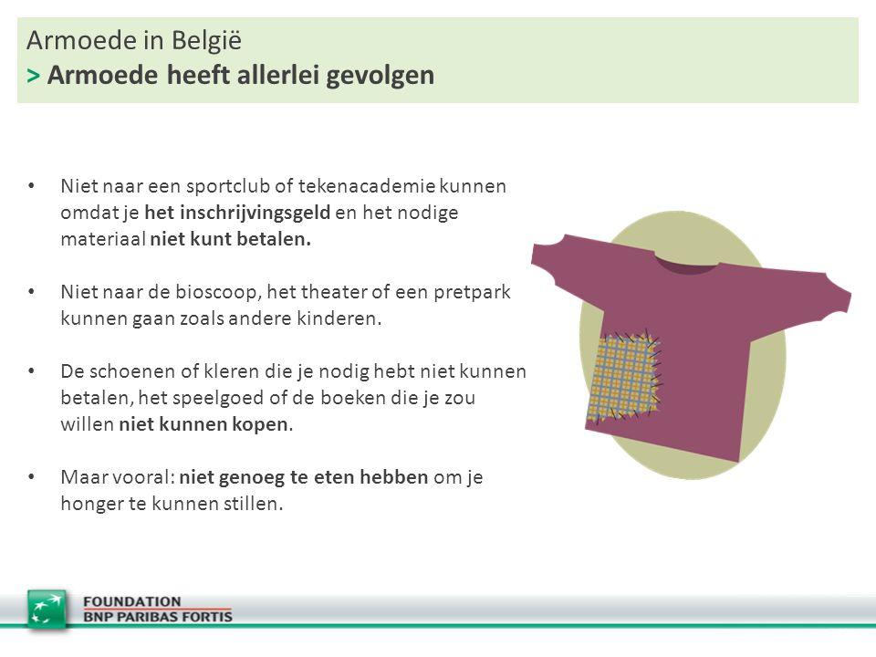 Armoede in België > Armoede heeft allerlei gevolgen Niet naar een sportclub of tekenacademie kunnen omdat je het inschrijvingsgeld en het nodige mater
