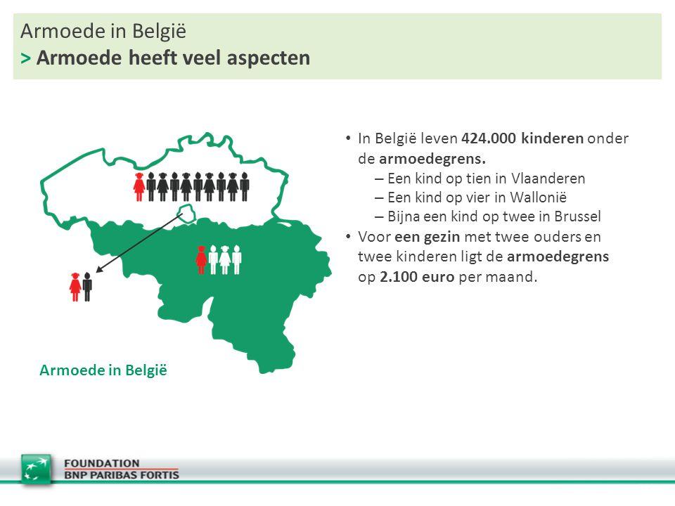 Armoede in België > Armoede heeft veel aspecten In België leven 424.000 kinderen onder de armoedegrens. – Een kind op tien in Vlaanderen – Een kind op