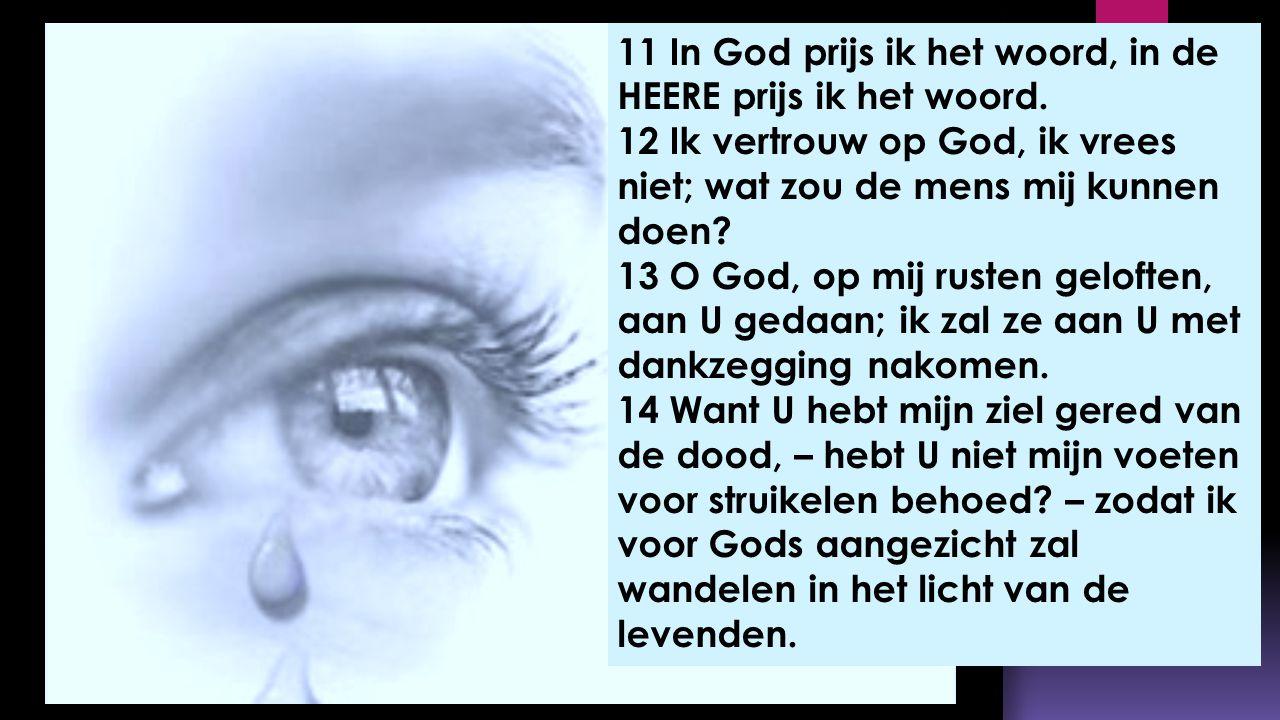 11 In God prijs ik het woord, in de HEERE prijs ik het woord. 12 Ik vertrouw op God, ik vrees niet; wat zou de mens mij kunnen doen? 13 O God, op mij