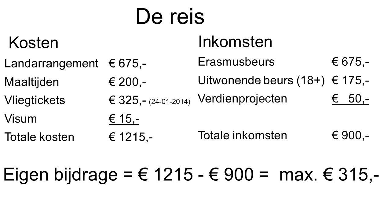 De reis Kosten Landarrangement€ 675,- Maaltijden€ 200,- Vliegtickets€ 325,- (24-01-2014) Visum€ 15,- Totale kosten€ 1215,- Inkomsten Erasmusbeurs € 675,- Uitwonende beurs (18+) € 175,- Verdienprojecten € 50,- Totale inkomsten € 900,- Eigen bijdrage = € 1215 - € 900 = max.