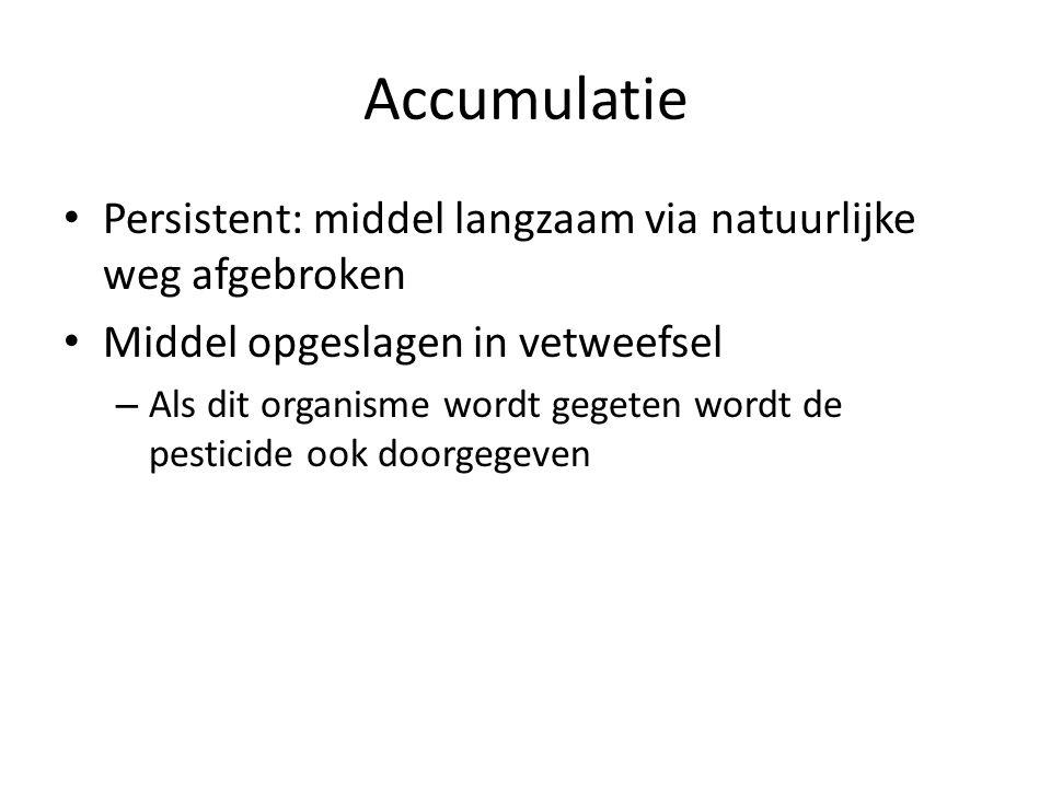 Accumulatie Persistent: middel langzaam via natuurlijke weg afgebroken Middel opgeslagen in vetweefsel – Als dit organisme wordt gegeten wordt de pesticide ook doorgegeven
