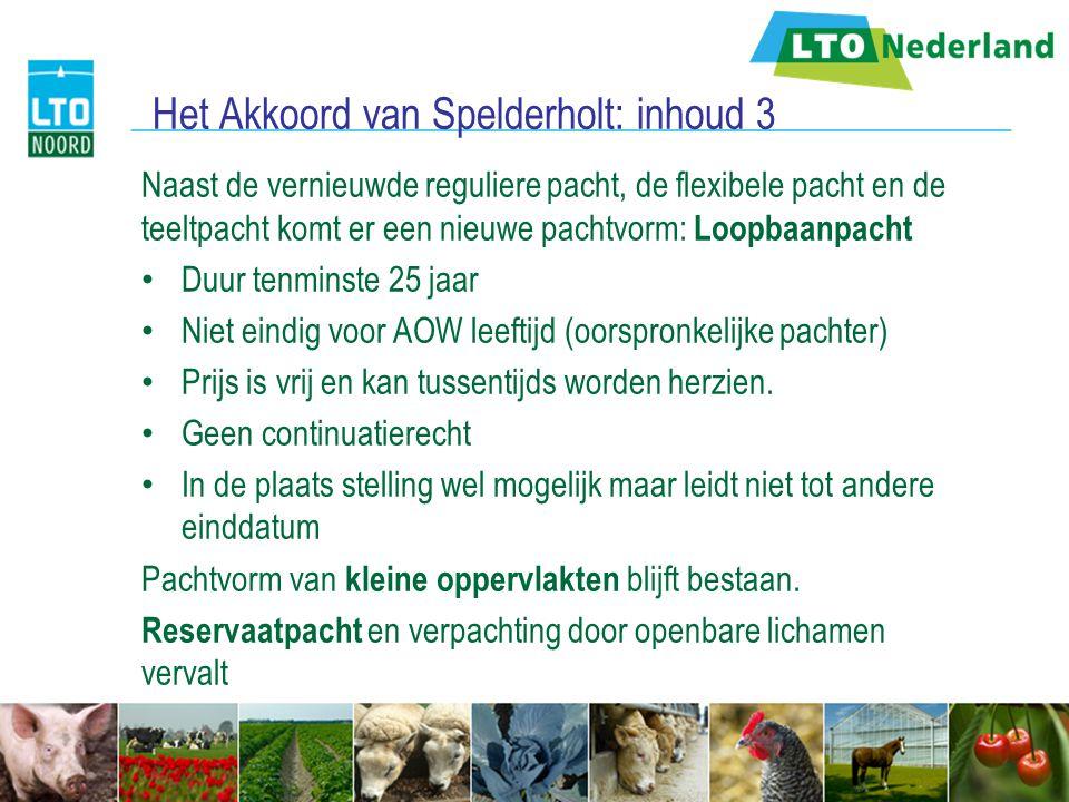 Het Akkoord van Spelderholt: inhoud 3 Naast de vernieuwde reguliere pacht, de flexibele pacht en de teeltpacht komt er een nieuwe pachtvorm: Loopbaanp