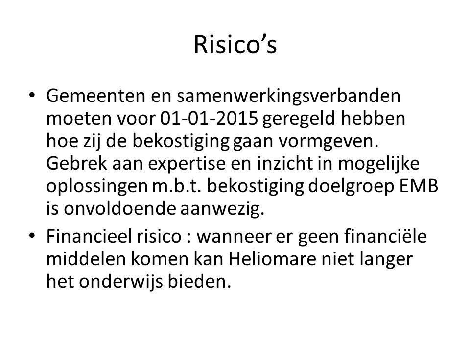 Risico's Gemeenten en samenwerkingsverbanden moeten voor 01-01-2015 geregeld hebben hoe zij de bekostiging gaan vormgeven. Gebrek aan expertise en inz