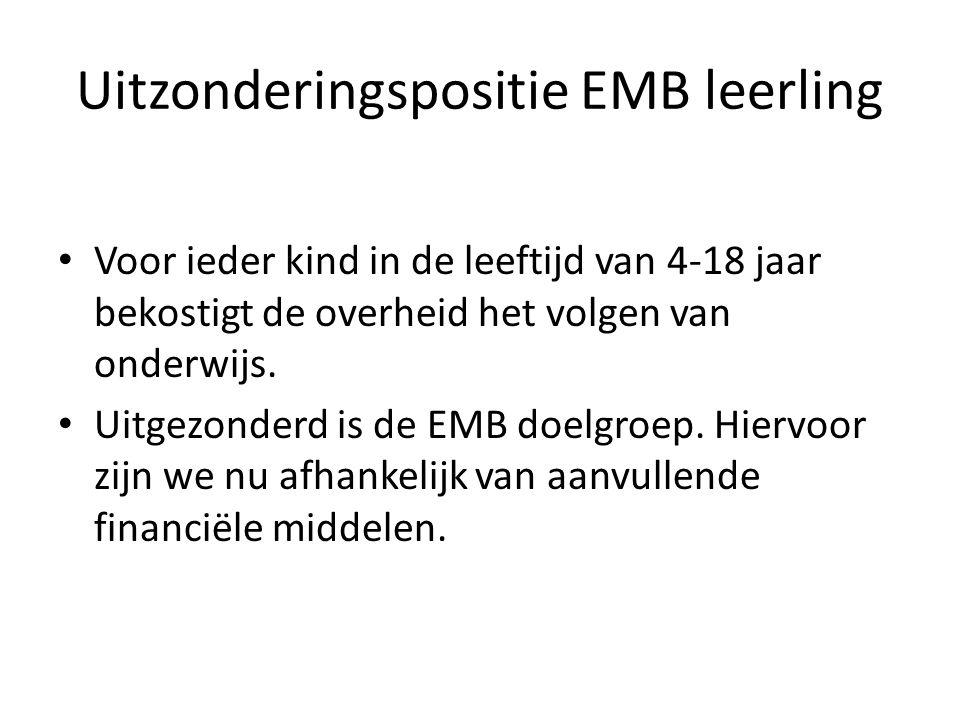 Uitzonderingspositie EMB leerling Voor ieder kind in de leeftijd van 4-18 jaar bekostigt de overheid het volgen van onderwijs. Uitgezonderd is de EMB