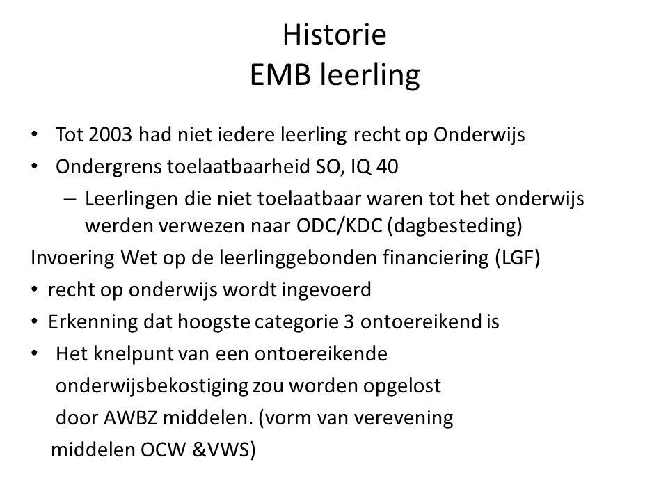 Historie EMB leerling Tot 2003 had niet iedere leerling recht op Onderwijs Ondergrens toelaatbaarheid SO, IQ 40 – Leerlingen die niet toelaatbaar ware