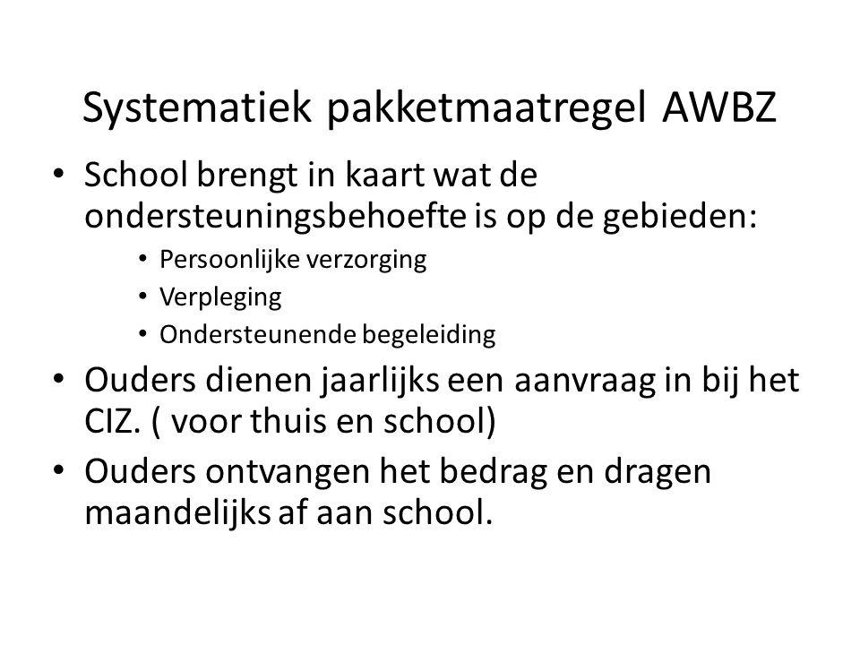 Systematiek pakketmaatregel AWBZ School brengt in kaart wat de ondersteuningsbehoefte is op de gebieden: Persoonlijke verzorging Verpleging Ondersteun