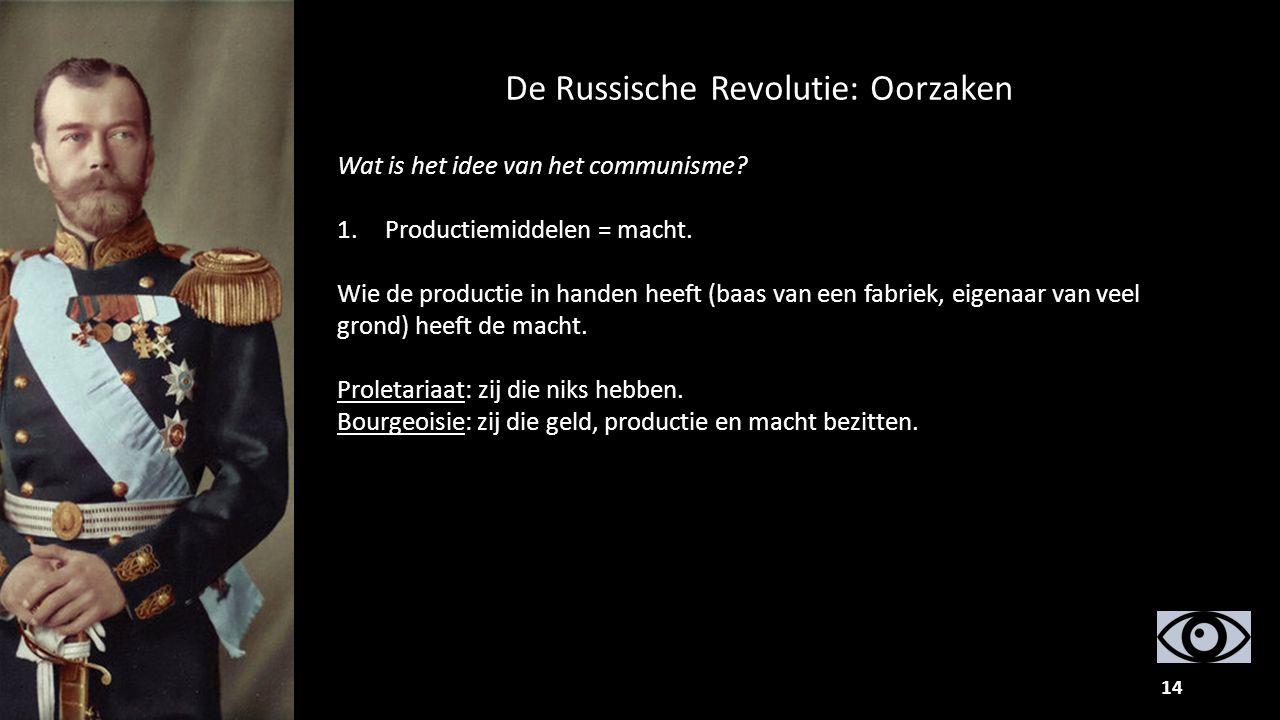 14 Wat is het idee van het communisme? 1.Productiemiddelen = macht. Wie de productie in handen heeft (baas van een fabriek, eigenaar van veel grond) h