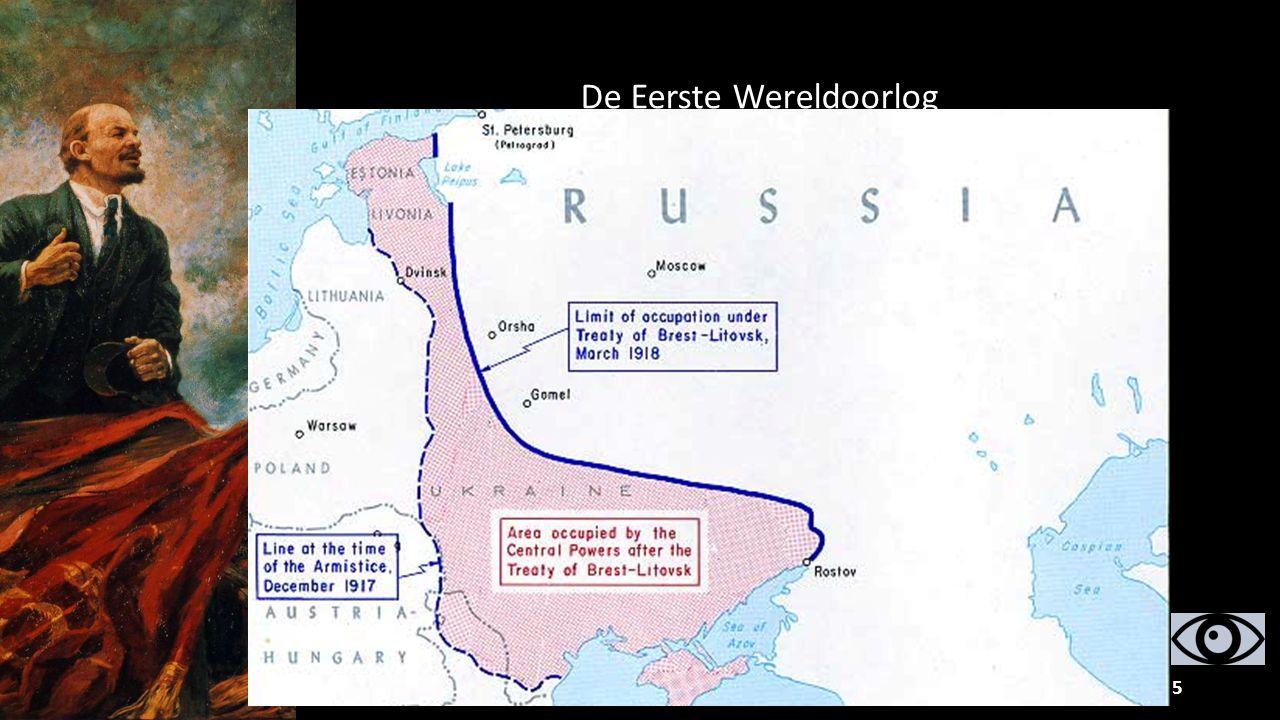 25 In Augustus 1914 breekt de Eerste Wereldoorlog uit. Rusland vecht samen met Frankrijk en Engeland tegen Duitsland en Oostenrijk-Hongarije. Tussen 1
