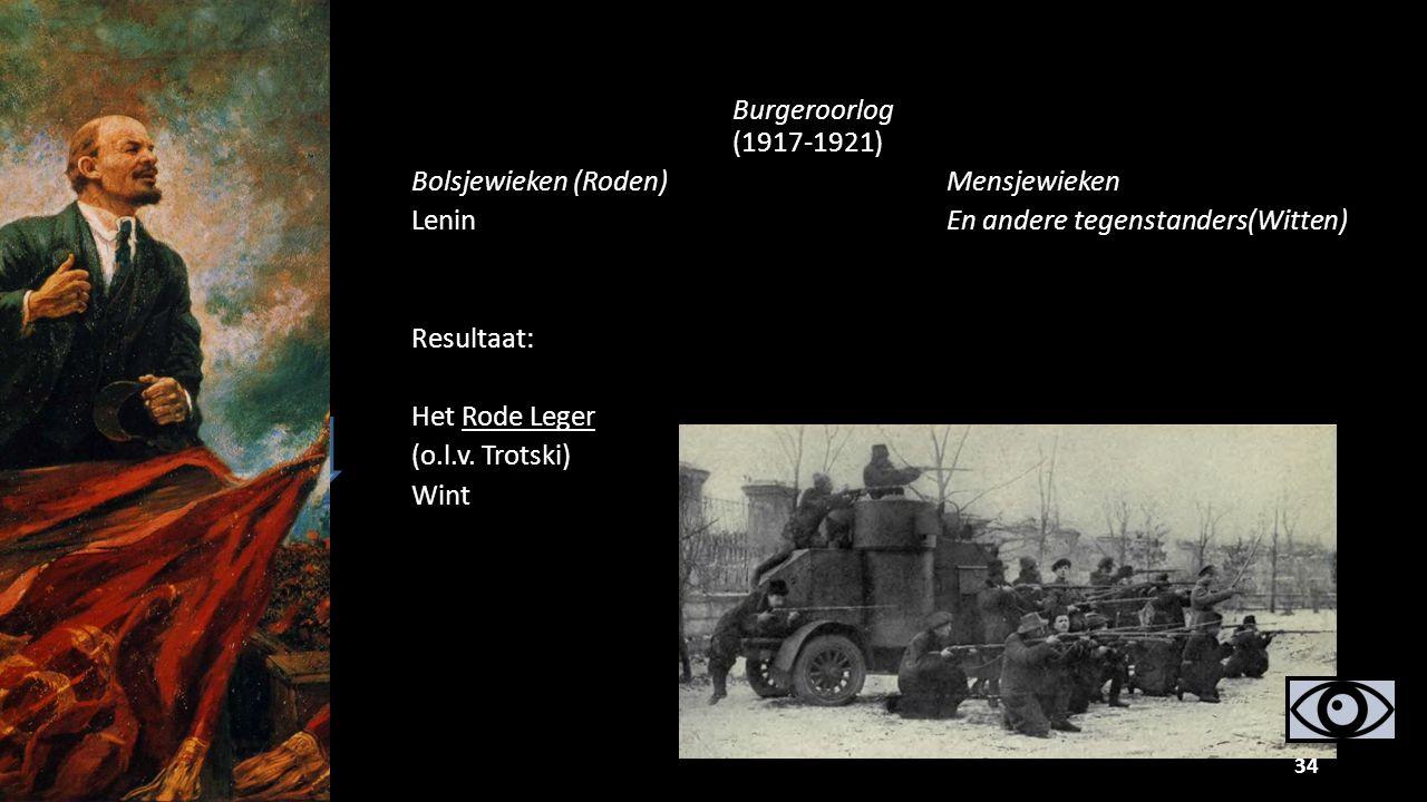 Burgeroorlog (1917-1921) Bolsjewieken (Roden)Mensjewieken LeninEn andere tegenstanders(Witten) Resultaat: Het Rode Leger (o.l.v. Trotski) Wint 11 34