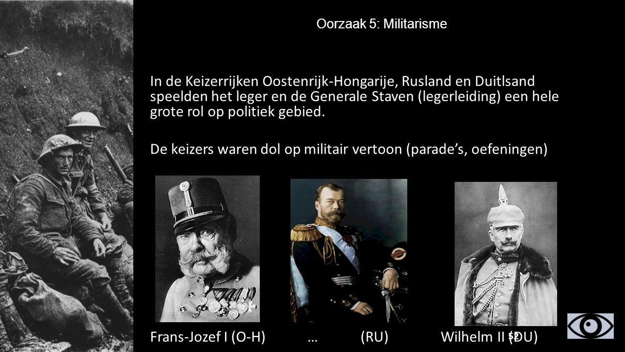 In de Keizerrijken Oostenrijk-Hongarije, Rusland en Duitlsand speelden het leger en de Generale Staven (legerleiding) een hele grote rol op politiek g