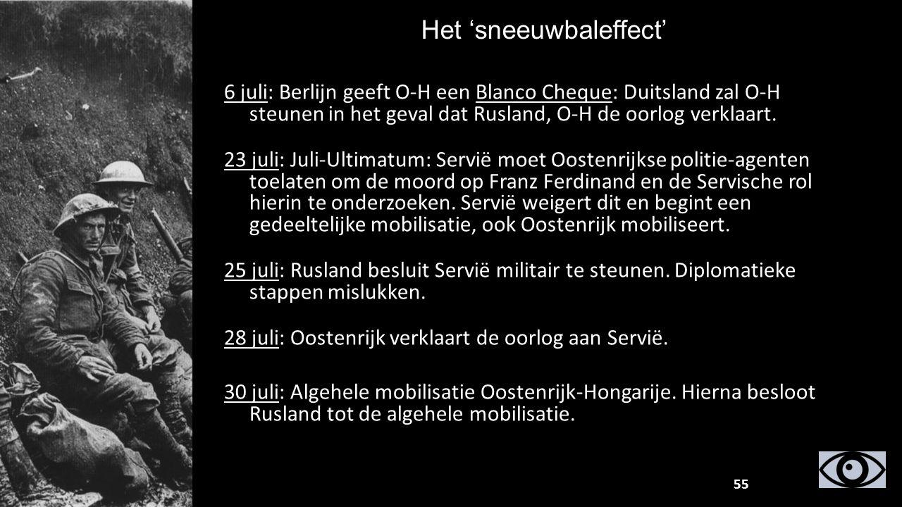 Het 'sneeuwbaleffect' 6 juli: Berlijn geeft O-H een Blanco Cheque: Duitsland zal O-H steunen in het geval dat Rusland, O-H de oorlog verklaart. 23 jul