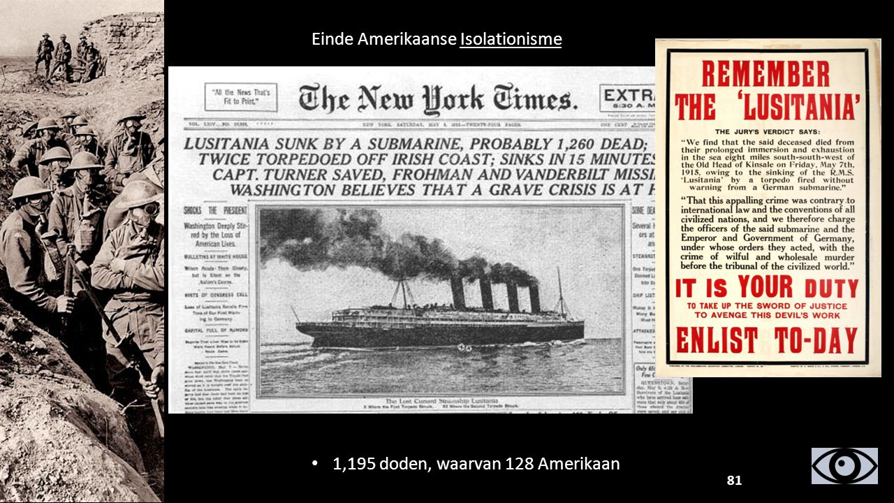 Einde Amerikaanse Isolationisme 1,195 doden, waarvan 128 Amerikaan 81