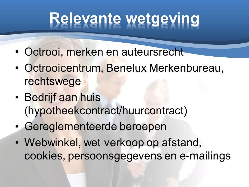Octrooi, merken en auteursrecht Octrooicentrum, Benelux Merkenbureau, rechtswege Bedrijf aan huis (hypotheekcontract/huurcontract) Gereglementeerde be