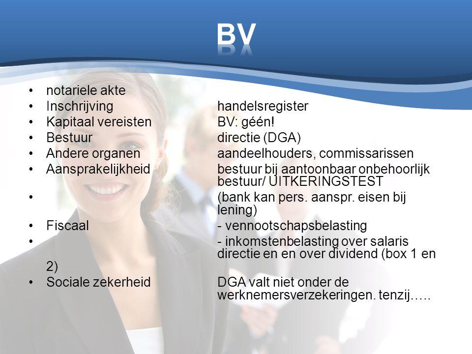 notariele akte Inschrijvinghandelsregister Kapitaal vereistenBV: géén! Bestuurdirectie (DGA) Andere organenaandeelhouders, commissarissen Aansprakelij