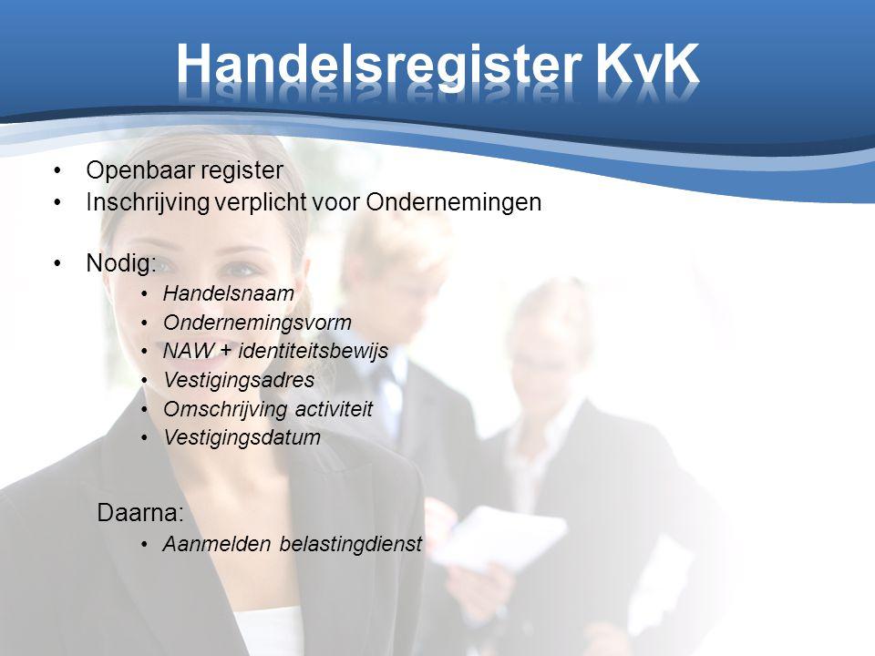 Openbaar register Inschrijving verplicht voor Ondernemingen Nodig: Handelsnaam Ondernemingsvorm NAW + identiteitsbewijs Vestigingsadres Omschrijving a