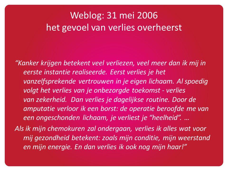 """Weblog: 31 mei 2006 het gevoel van verlies overheerst """"Kanker krijgen betekent veel verliezen, veel meer dan ik mij in eerste instantie realiseerde. E"""