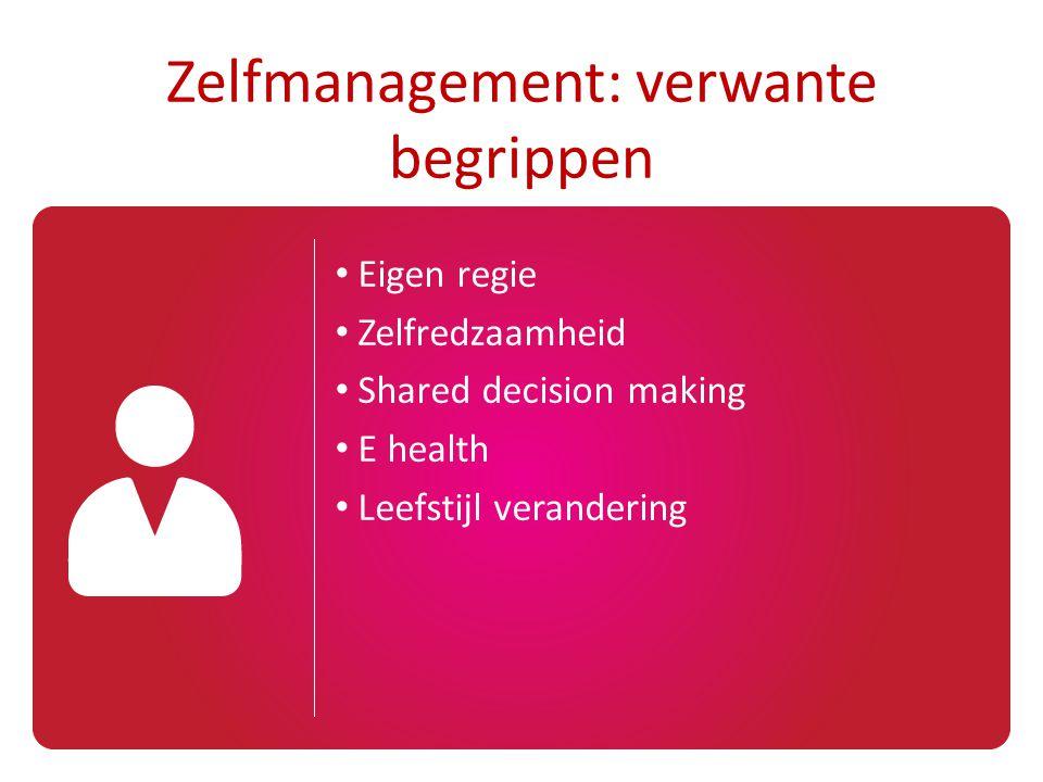 Eigen regie Zelfredzaamheid Shared decision making E health Leefstijl verandering Zelfmanagement: verwante begrippen