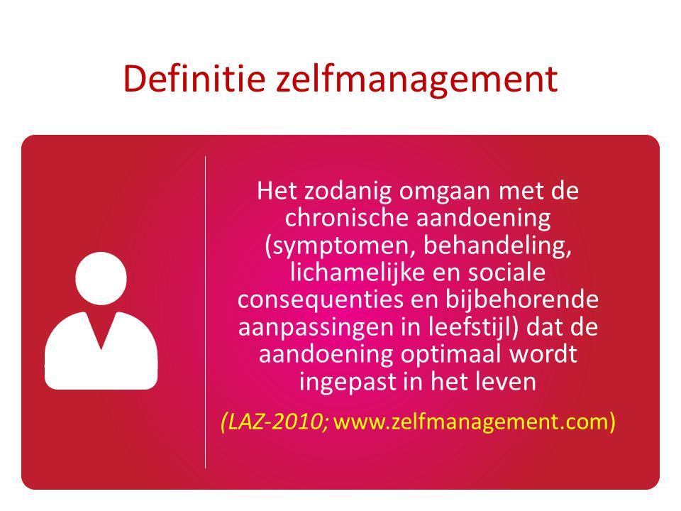 Het zodanig omgaan met de chronische aandoening (symptomen, behandeling, lichamelijke en sociale consequenties en bijbehorende aanpassingen in leefsti